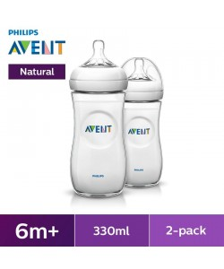 AVENT Natural Bottle 11oz/330ml Natural 2.0 Twin Pack