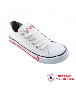 NEW SEVEN Unisex Round Toe Low Top Canvas Comfort School Shoes White WR268