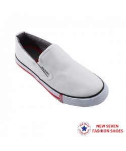 NEW SEVEN Unisex Round Toe Slip-on Canvas Comfort School Shoes White WR768