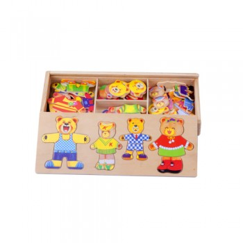 Wooden Bear Change/ Matching Pair Clothes Education Puzzle (Ready Stock)