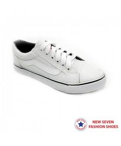 NEW SEVEN Unisex Round Toe Slip On Canvas Comfort School Shoes White XW600