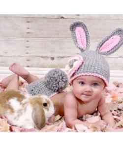 Newborn Baby Photography Grey Rabbit Clothes (Ready Stock)