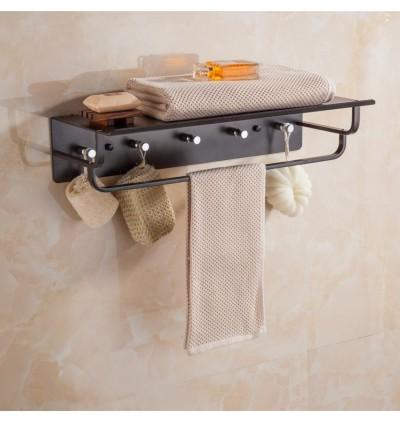 Black Aluminum Towel Rack Bathroom (Ready Stock)