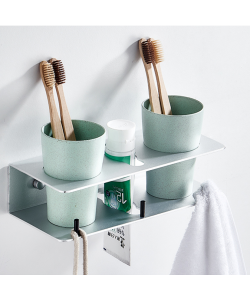 Wall-Mounted Toothbrush Holder Mouth Cup Set with 2 Cups (Ready Stock)