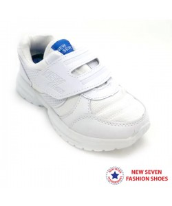 NEW SEVEN Children Round Toe Low Top Canvas Comfort School Shoes White VS110-W
