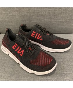 Men's Mesh Sneaker Casual Sport Shoe in Black + Red CT19-2R READY STOCK