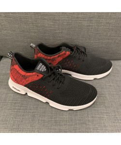 Men's Mesh Sneaker Casual Sport Shoe in Black + Red CT19-1R READY STOCK