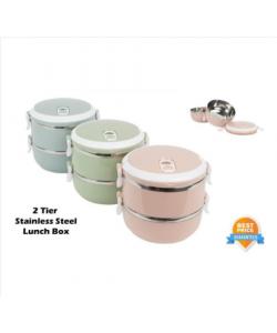 Double-layer Buckle Lunch Box 不锈钢便携双层便当盒